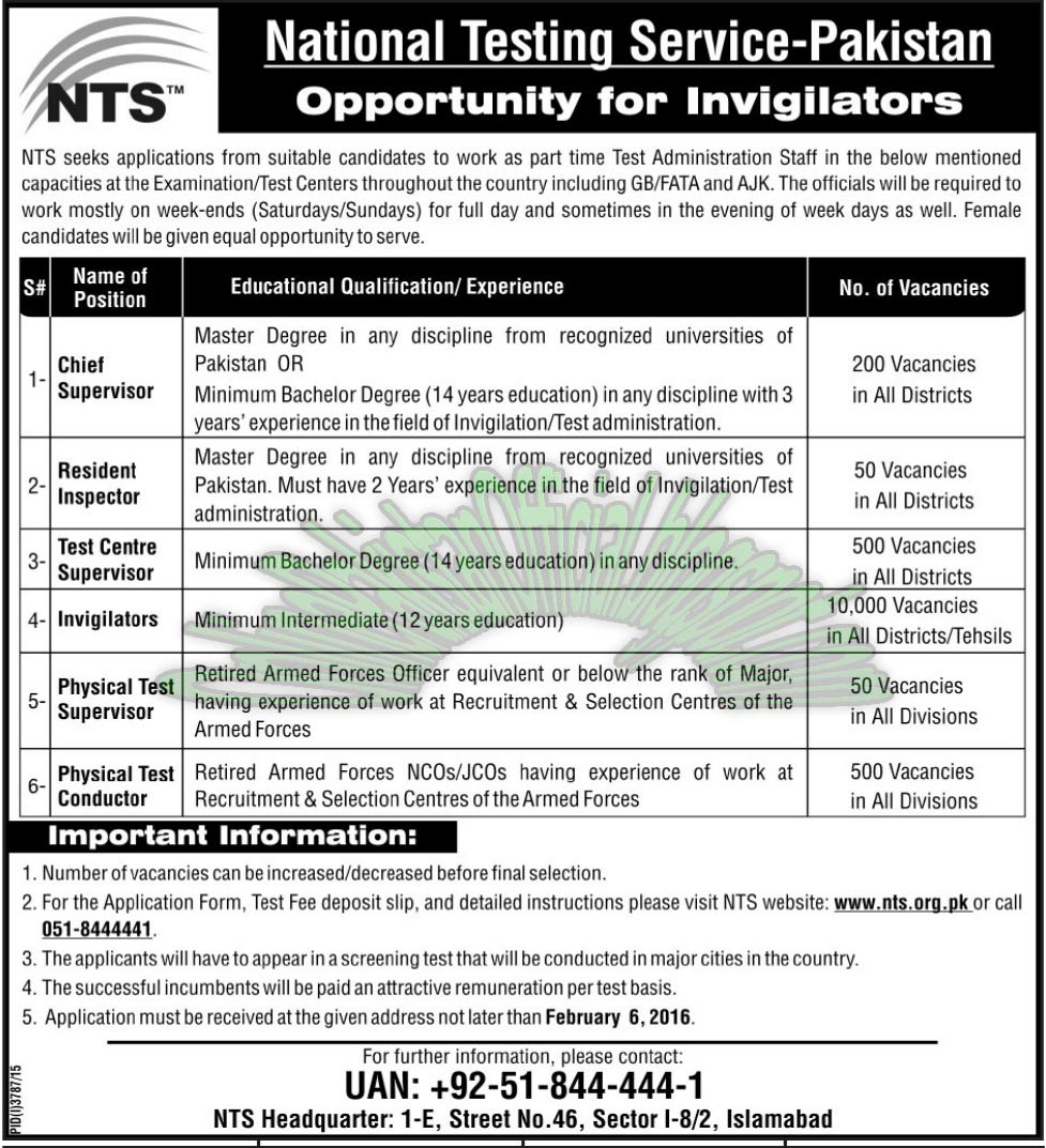 NTS latest jobs in Islamabad 2016