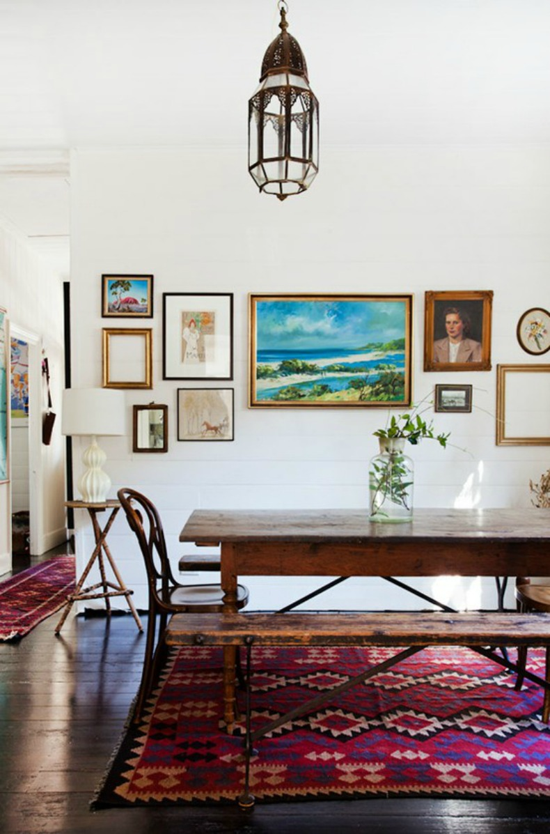 Eclectic, coastal dining room