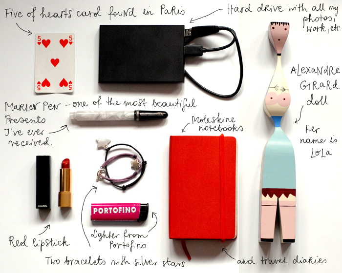 Some things I would take if my house was burning: Marlen pen, Moleskine notebooks and travel diaries, Alexandre Girard wooden doll, lighter from Portofino, five of hearts card found in Paris, red lipstick, two bracelets with silver stars, hard drive with all my photos, work, etc.