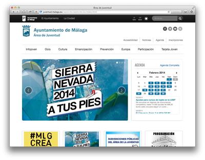 Web del Área de Juventud del Ayto. de Málaga