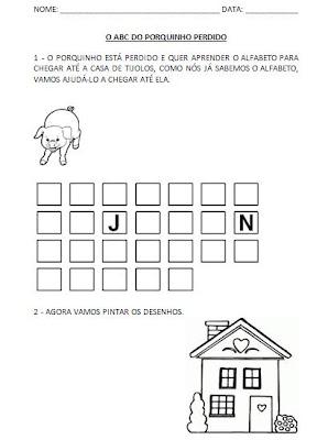 Atividades com Alfabeto - ABC do porquinho. Complete o alfabeto - Atividade para Alfabetização