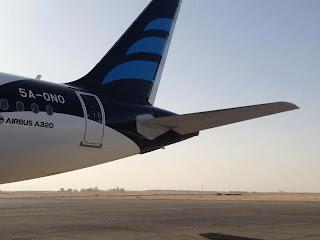 Afriqiyah A320 in new livery, Sebha