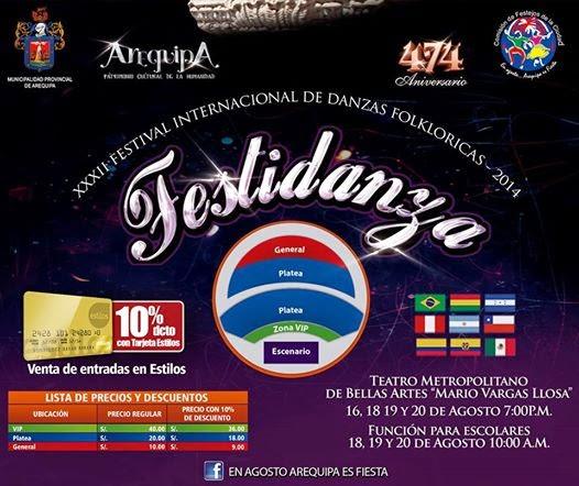 Festidanza Arequipa 2014 - precios de entradas