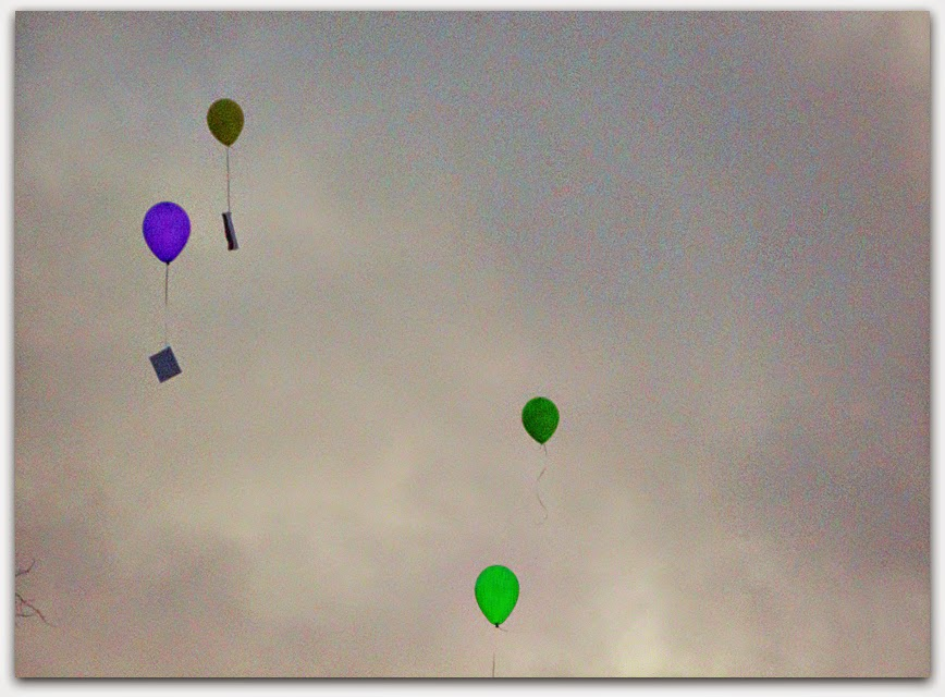 "These balloons carry students' inspiring words to others, a new metaphor for Percy Shelley's ""Ode to the West Wind."""