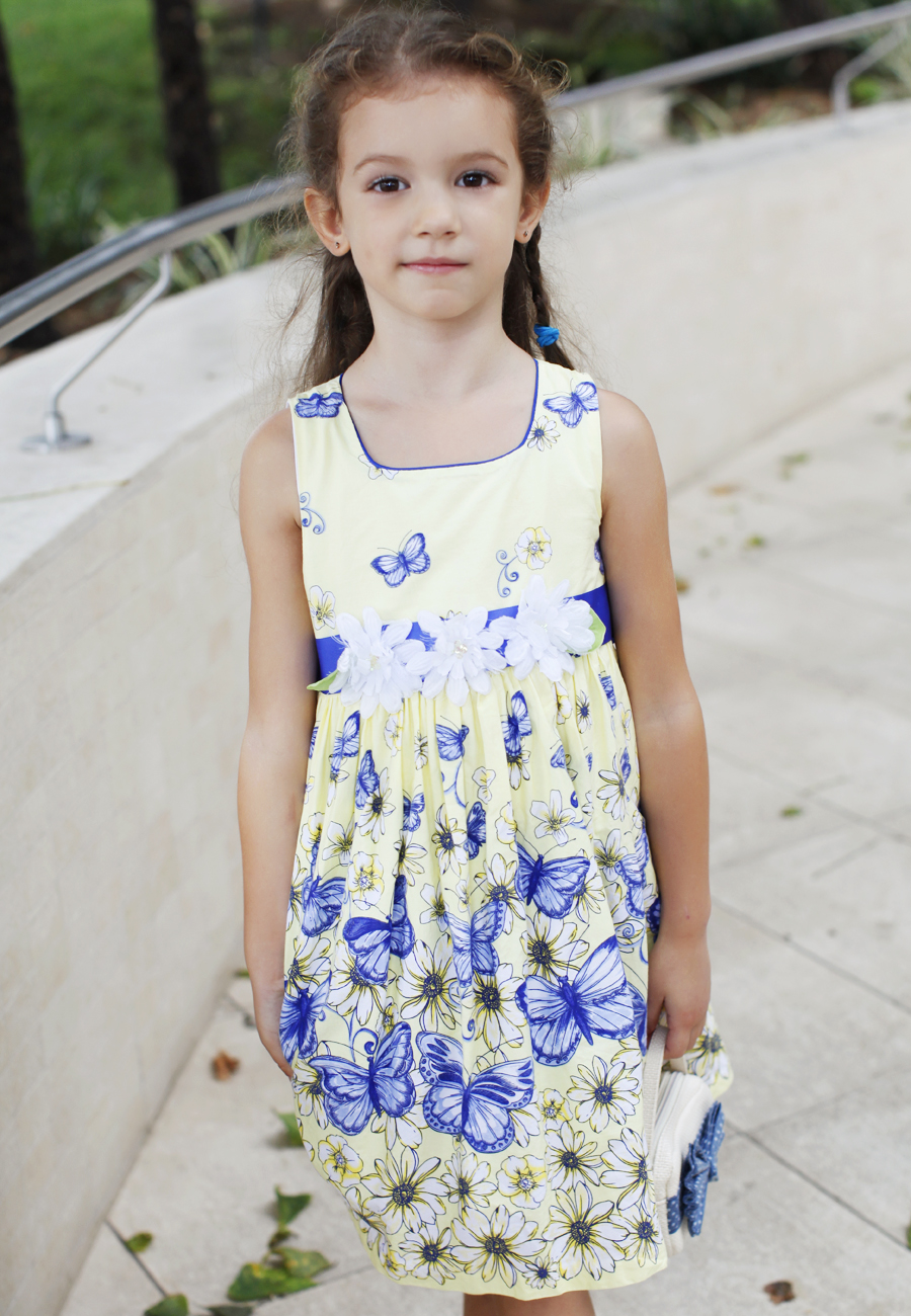 Blue butterfly floral print dress