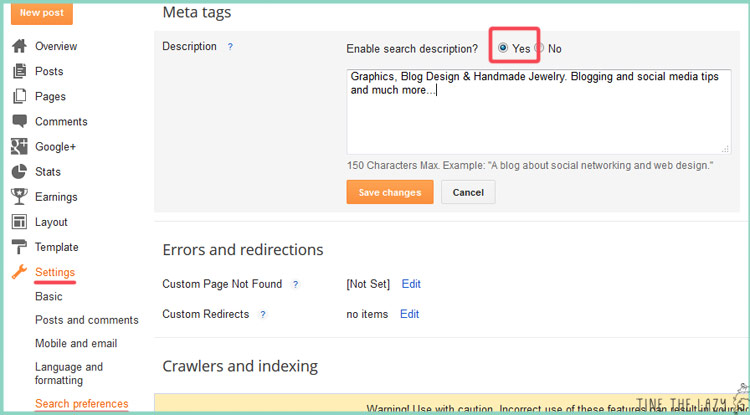 How to insert a description to Blogger posts