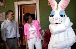 Barack and Michelle with the Easter Bunny