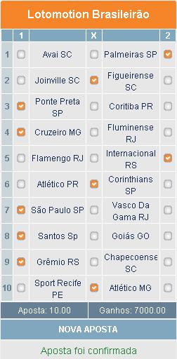 LOTOMOTION BRASILEIRÃO - 31ª RODADA - APOSTA 01