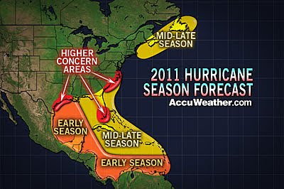hurricane season 2011 forecast map