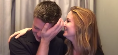 The man broke down to tears after finding out the surprise announcement