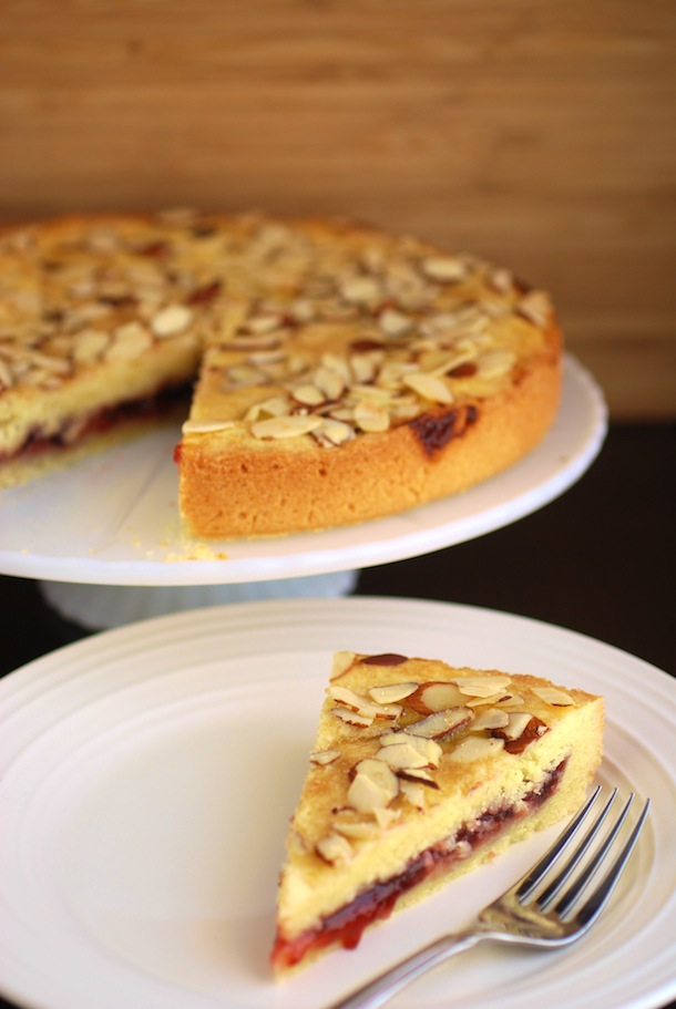 Almond Raspberry Shortbread Cake