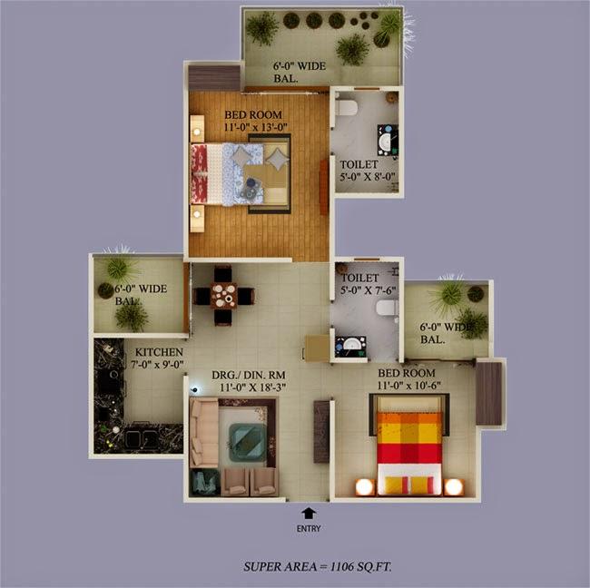 Ecovillage Noida Extension :: Floor Plans 3 BHK 1718 sqft