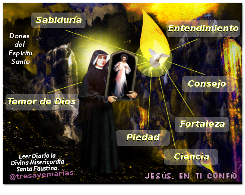 foto divina misericordia con los 7 dones