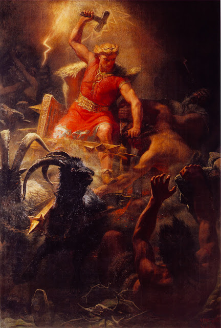 'Thor's battle with the Ettins' - Mårten Eskil Winge (1872)