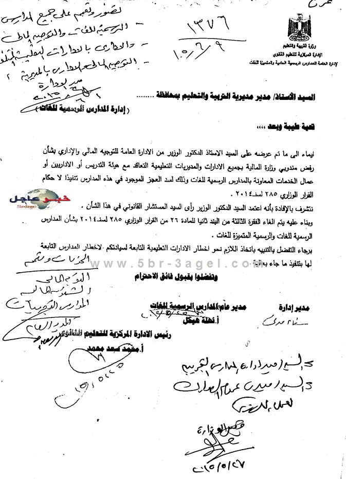 مفاجأة فاكس - رفض والغاء التعاقد مع المعلمين والاداريين والعمال بالمدارس الرسمية