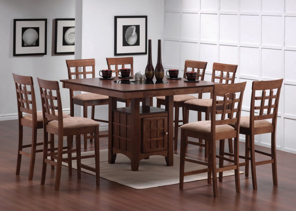 Dining room table and chairs set interior decorating idea for Counter height dining set