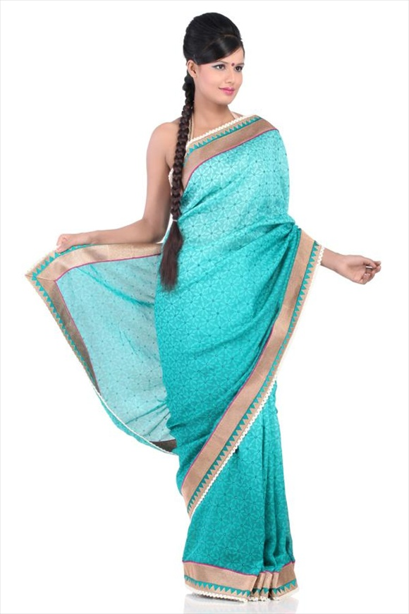 Peacock Blue Net Saree