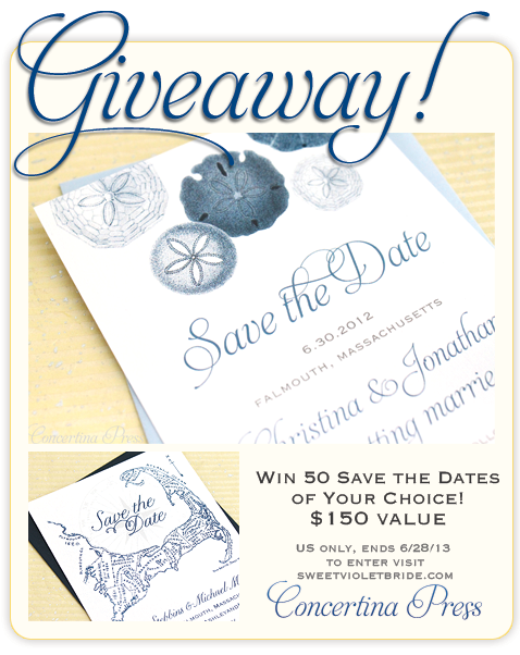 Win 50 Save the Dates from Concertina Press on Sweet Violet Bride blog ends 6/28/13