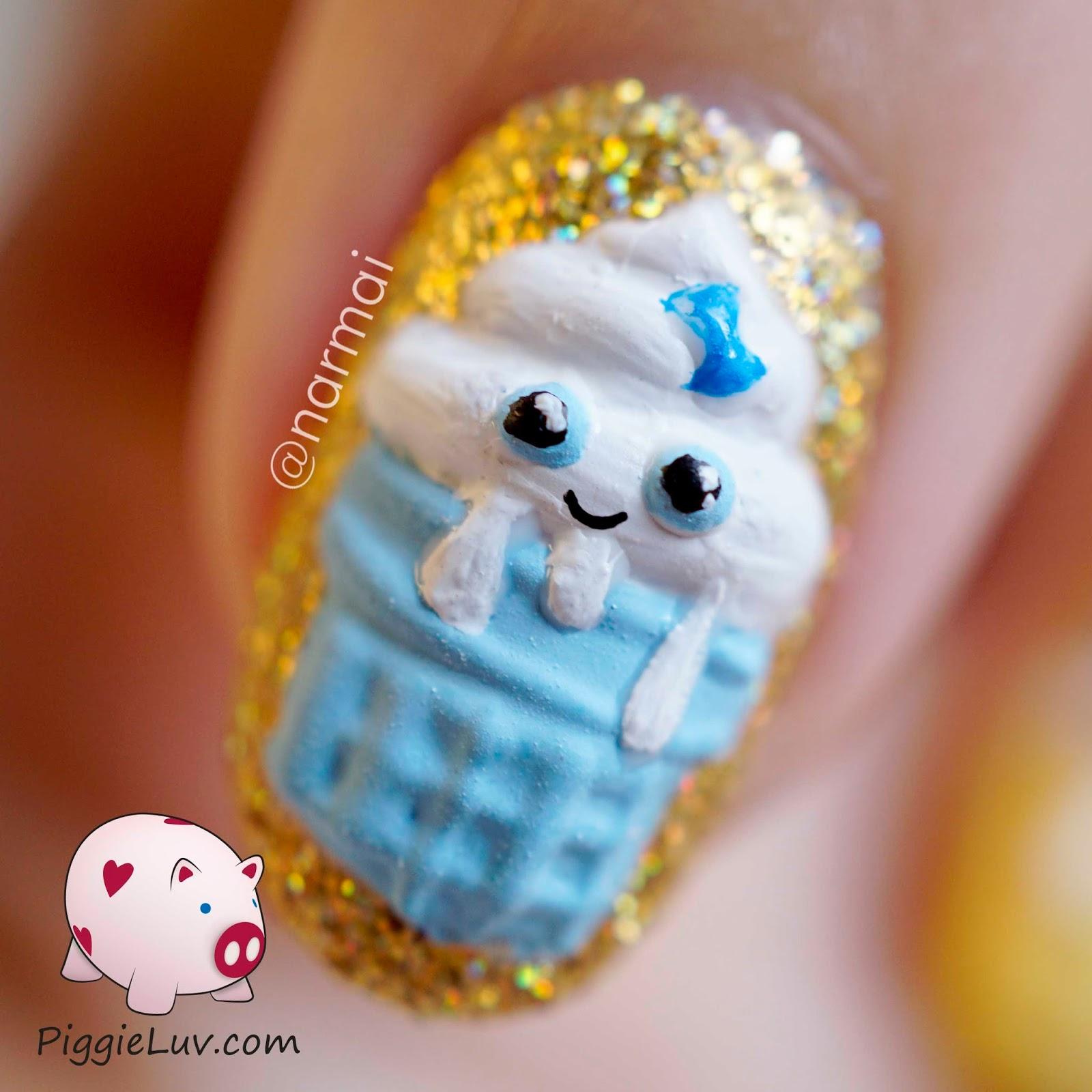 PiggieLuv: 3D Kawaii birthday cupcakes nail art