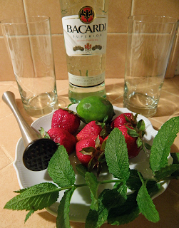 Rum, Garden Mint, Strawberries, and Lime