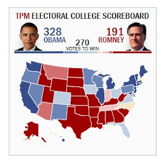 TPM Electoral College Scoreboard: Obama 328 Romney 191