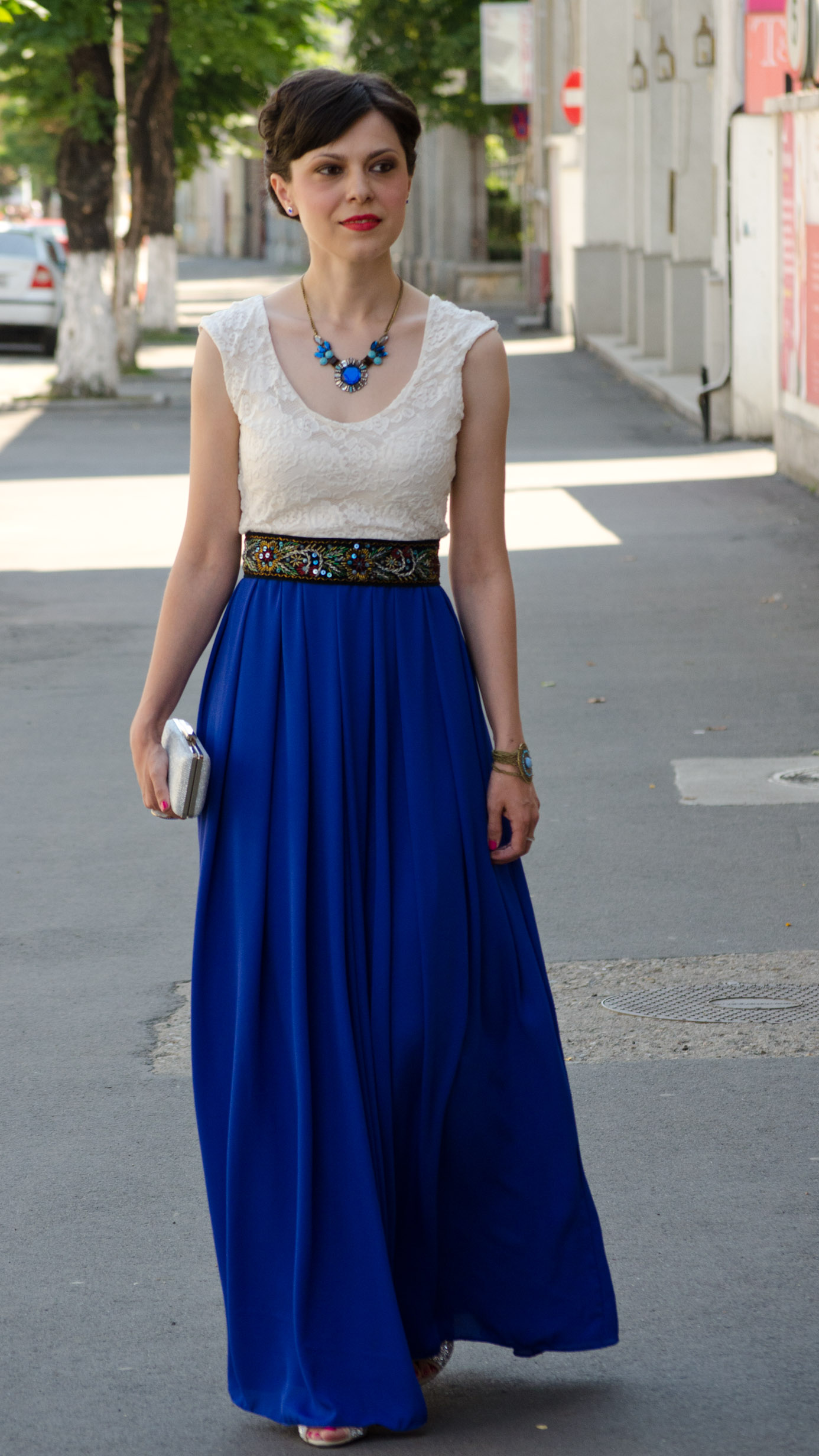 maxi dress cobalt blue white lace statement necklace blue topper hat wedding attire handmade waistband