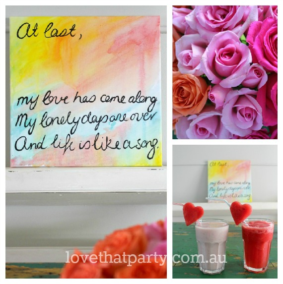 Valentine's Day DIY Ideas - Smoothies, Roses & DIY Art @ Love That Party