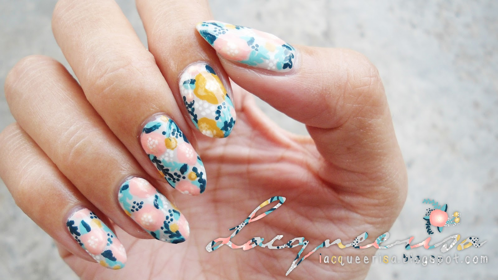 Lacqueerisa: Creamy Dreamy Floral Nails