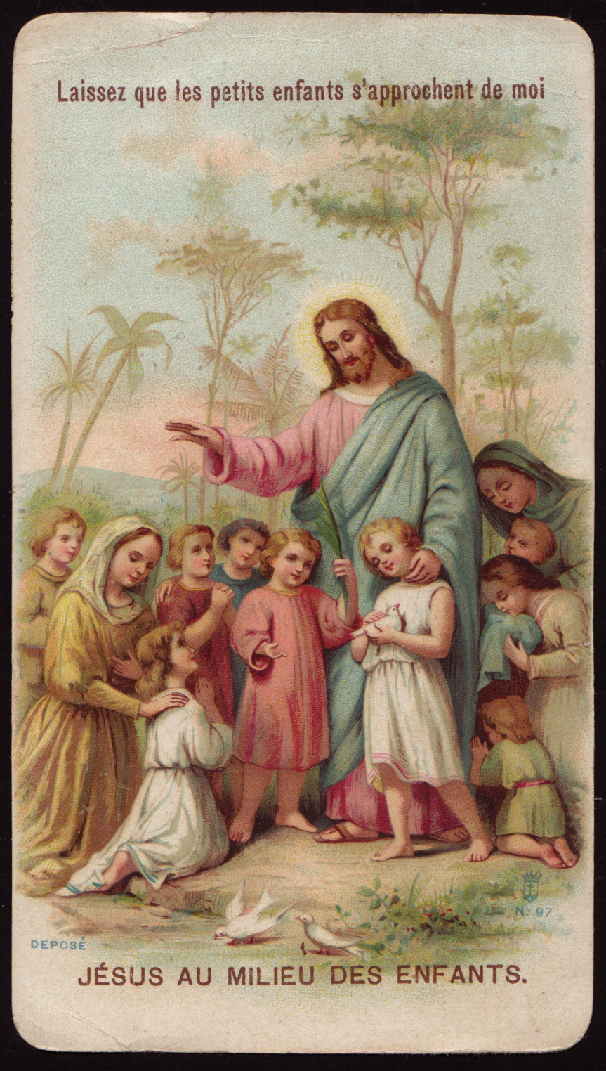 holy cards for children jesus blessing children
