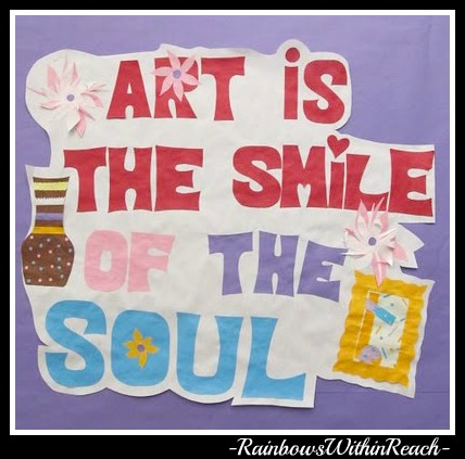 photo of: Bulletin Board for Art Room (from Bulletin Board RoundUP via RainbowsWithinReach)
