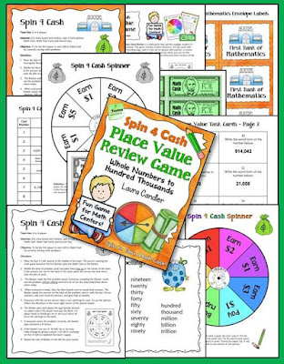 Spin 4 Cash Place Value Review Spinner Game from Laura Candler