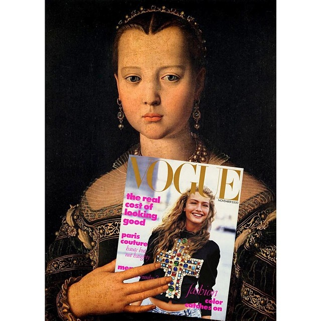 Original: Portrait Of Maria de' Medici by Agnolo Bronzino. Added: Vogue cover from November 1988, Anna Wintour's first cover for the magazine