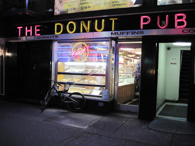 Night and day the Donut Pub serves all New York city diners.