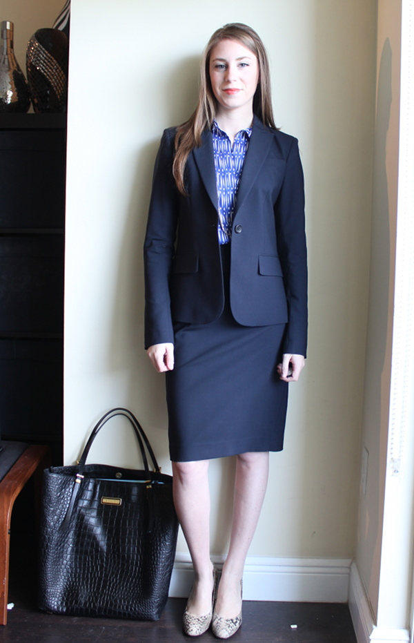 lawyer fashion blog, professionally petite, petite blog, theory gabe b blazer, theory golda skirt, corso como snake print del pumps, ann taylor dashing dots tunic, ann taylor mesh chain and bar necklace, michael kors tote