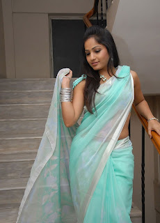 madhavi latha hot photos in Blue saree+(13)