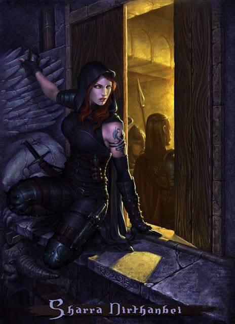 Ilustración del personaje de rol Sharra Nirthanbei (propiedad de Ghilbrae) hecho por ªRU-MOR por encargo. Mujer asesina al acecho en la cornisa de una ventana para matar a su objetivo.