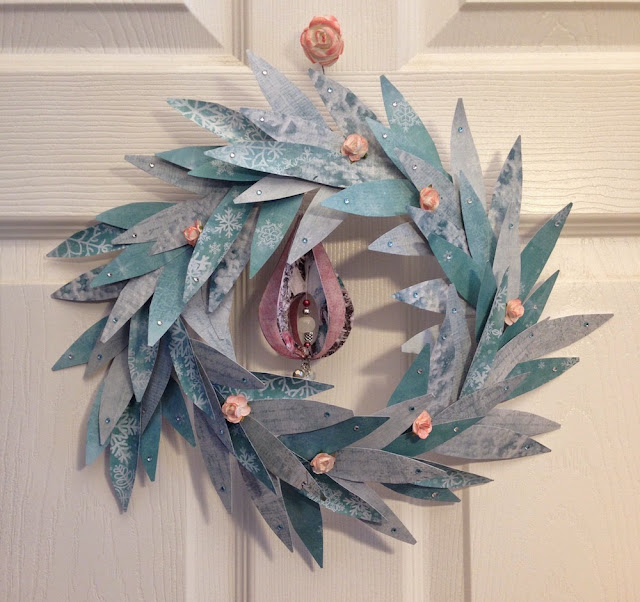 paper leaf winter wreath by lisa fulmer