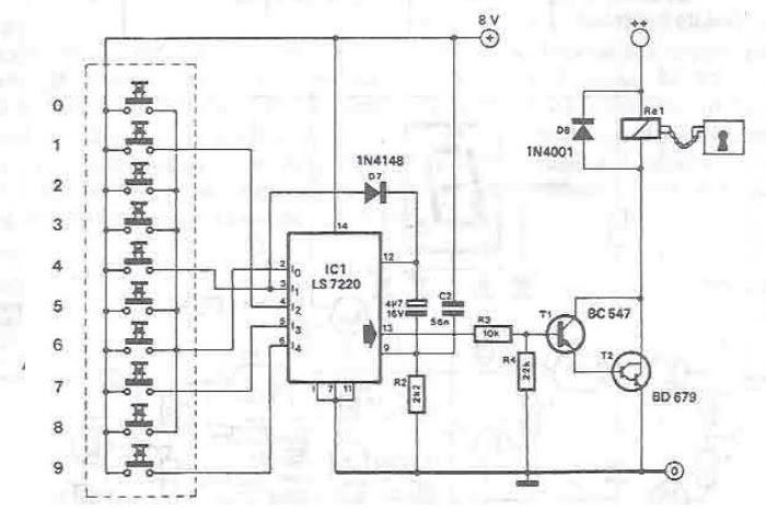 serrure  u00e9lectronique utilisant le circuits int u00e9gr u00e9s ls7220