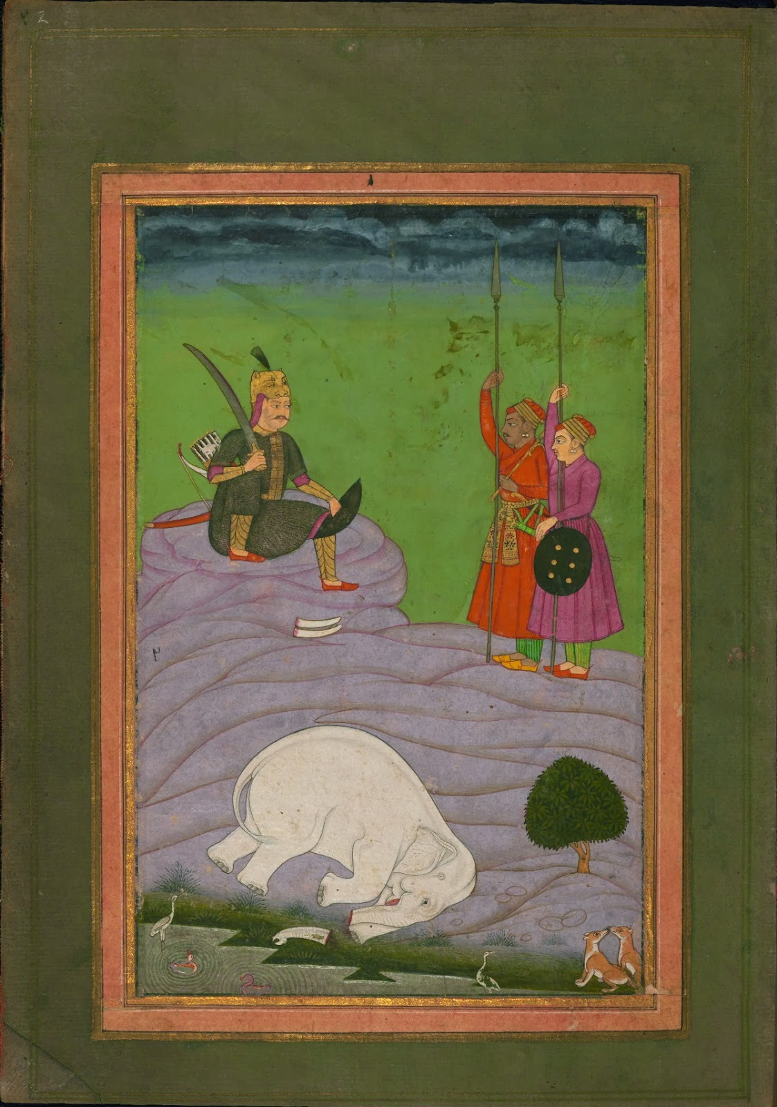 Indian manuscript miniature - music visualisation featuring killed white elephant with tusks removed