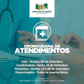 Cronograma de Especialidades Médicas - Setembro