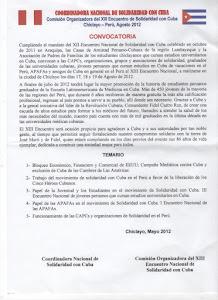 CONVOCATORIA AL XIII ENCUENTRO NACIONAL DE SOLIDARIDAD CON CUBA CHICLAYO - PERÚ,  AGOSTO 2012
