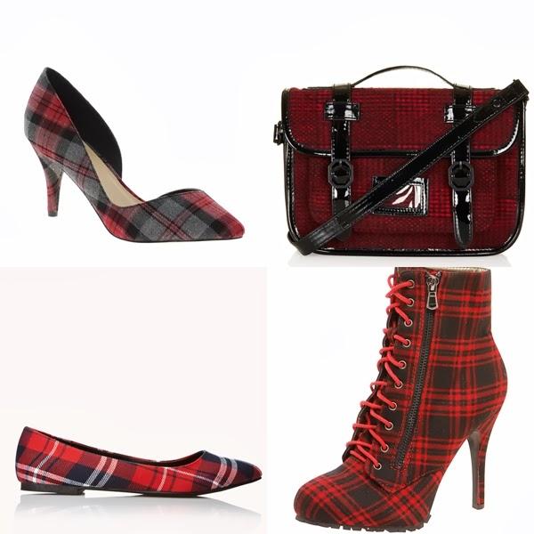 tartan booties, tartan pointed toe heel, tartan satchel, tartan flat shoe