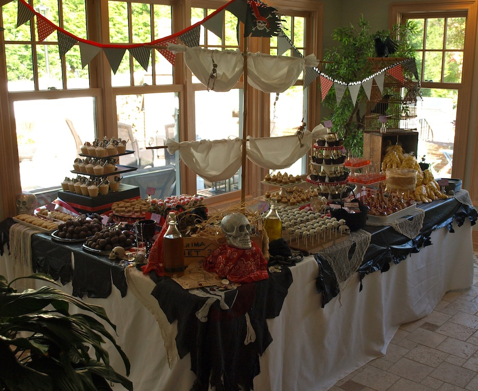 a party style pirate ship dessert table. Black Bedroom Furniture Sets. Home Design Ideas