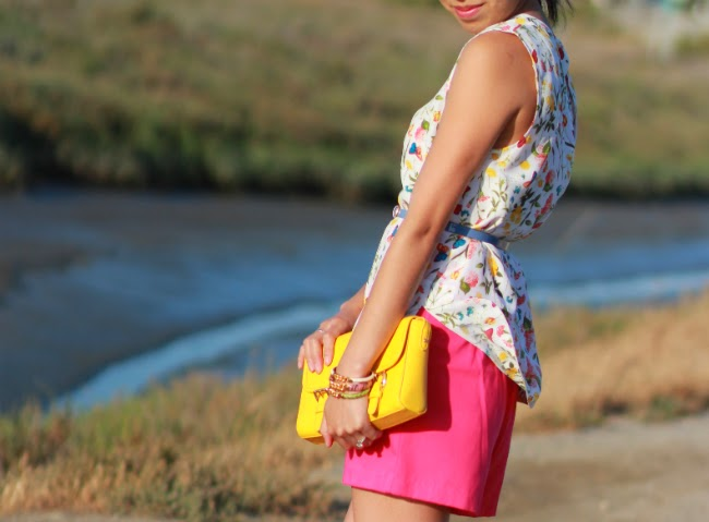 bright pink neon shorts purse bag matching