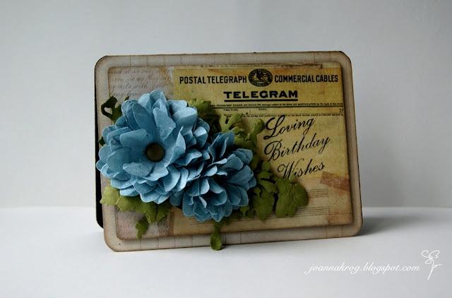 Самодельная винтажная открытка С днем рождения