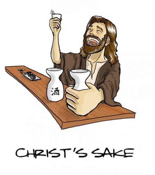Jesus Cristo bebendo saquê