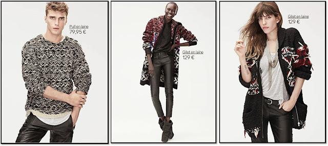 Collaboration H&M x Isabel Marant lookbook hommes femmes Lou Doillon Mia Jovovitch Alek Wek pantalon cuir gilet épais