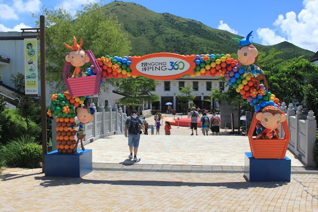 The main entrance of Ngong Ping 360 from getting down of cable car terminal in Hong Kong