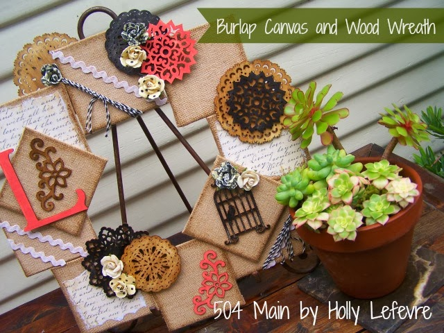 Burlap Canvas and Wood Wreath by 504 Main with @michaelsstores and @hometalk