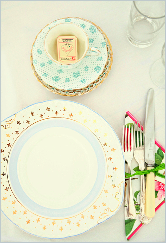 vintage place setting from above